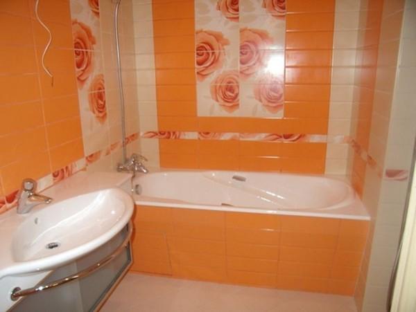 интерьер ванной комнаты оранжевого цвета