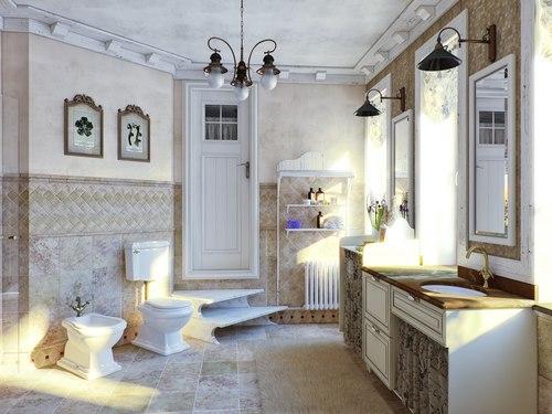 прованс в ванной коттеджа
