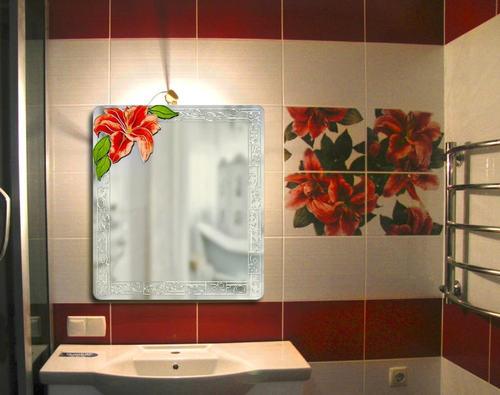 украшение зеркала в ванной комнате