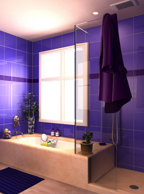 интерьер ванной в фиолетовой плитке