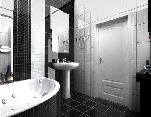 Фото черной плитки в интерьере ванной комнаты и туалета