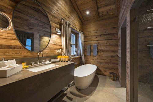 Ванная комната в стиле шале: фото идеи