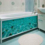 Экран под ванну с изображением подводного мира