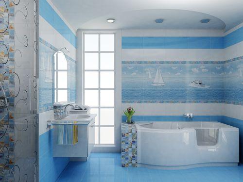 Облицованная плиткой ванная комната