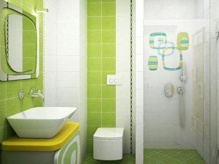 Сочетание белой и зеленой плитки