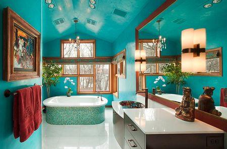 Синее оформление комнаты