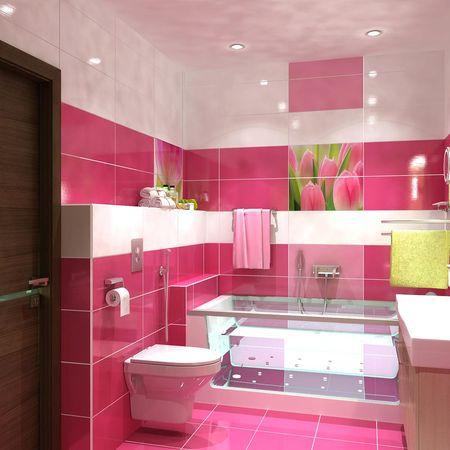 Красно-розовая ванная