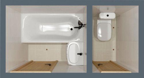 Стандартная планировка ванной и туалета