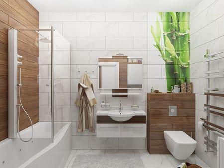 Модный интерьер маленькой ванной комнаты